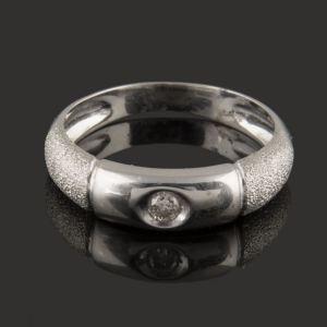 anillo solitario de oro blanco