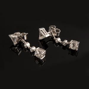 ref. T-121 pendientes desmontables de oro blanco con diamantes